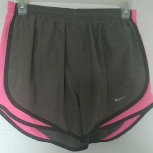 Nike dri-fit woman's athletic pink n brown shorts